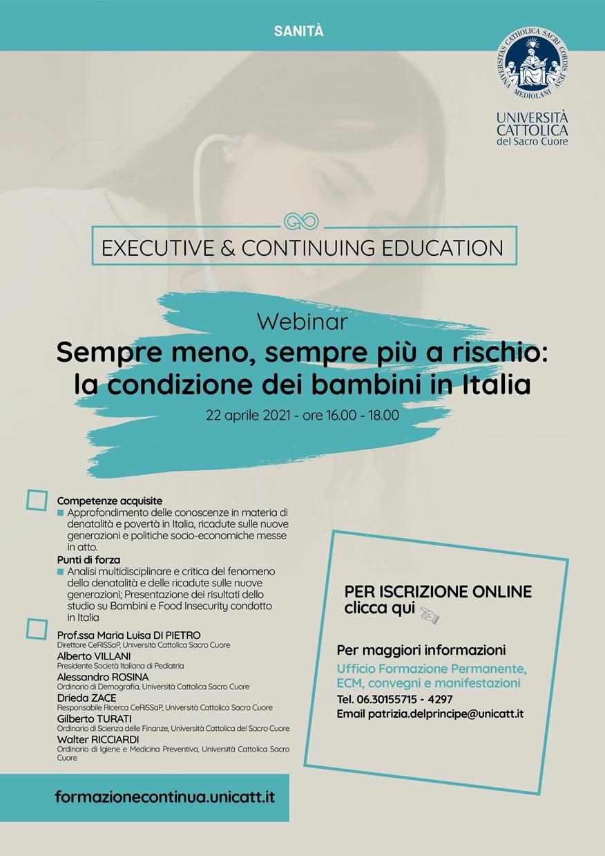 22 aprile 2021 - Sempre meno,  sempre più a rischio: la condizione dei bambini in Italia